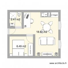 studio 25m2 plan de 5 pi ces et 24 m2 plan pinterest. Black Bedroom Furniture Sets. Home Design Ideas