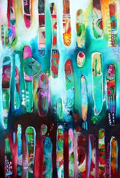 """Tracy Verdugo. 2012. I Dream of Possibility.acrylic/mixed media on canvas. 75x51cm.  Sold.  """"Dream delivers us to dream, and there is no end to illusion. Life is like a train of moods like a string of beads, and, as we pass through them, they prove to be many-colored lenses which paint the world their own hue. . . . """"  ― Ralph Waldo Emerson"""