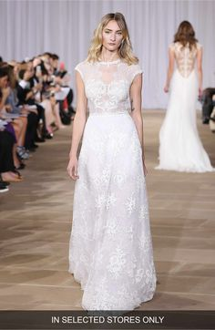 Main Image - Ines Di Santo 'Inspired' Embellished Neck Cap Sleeve Lace A-Line Gown (In Stores Only)