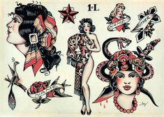 Traditional Flash, Traditional Tattoo Flash, American Traditional, Vintage Tattoo Design, Vintage Style Tattoos, Tattoo Vintage, Retro Tattoos, Sailor Jerry Flash, Vintage Sailor