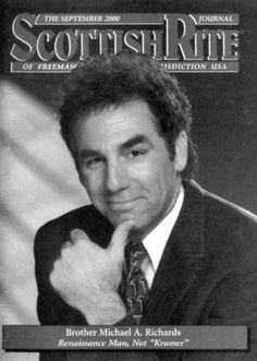 I had no idea Kramer was a Freemason. Masonic Signs, Masonic Art, Masonic Symbols, Hand Symbols, Secret Society Symbols, Famous Freemasons, Eastern Star
