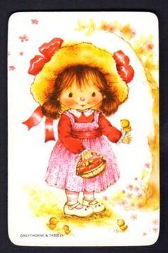 Vintage-Swap-Card-Cute-Girl-with-Little-Bird-BLANK-BACK