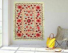 Handmade Uzbek Vintage Wall Decor Tablecloth Beautiful Embroidery Suzani | eBay Small Sofa, Vintage Tablecloths, Vintage Walls, Hand Embroidery, Wall Decor, Textiles, Handmade, Beautiful, Happy