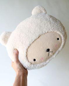 Plush Kawaii Teddy Bear Pillow in Cuddle Sherpa
