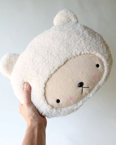 Plush Kawaii Teddy Bear Pillow in Cuddle Sherpa