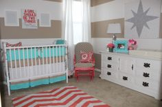 Red + Aqua = the perfect combo for a little girl's nursery. #aqua #nursery