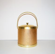 Vintage Ice Bucket Mid Century Barware Gold Ice by JudysJunktion, $82.00