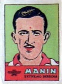 Manín. Atlético de Madrid. 1941-42. Cromos Bruguera. Extremo derecha titular.