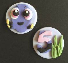 10 x edible icing Finding Dory theme cupcake toppers cake decorations by ACupfulofCake on Etsy.