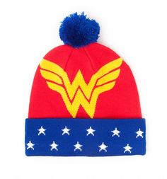 Wonder Woman Logo Knitted Bobble Hat : Main