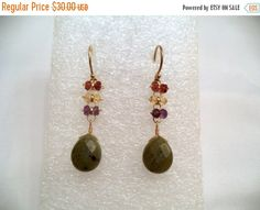Vintage Assorted Gemstone Dangle Earrings by Zeppola on Etsy