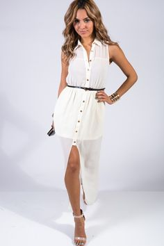 #1015store.com #fashion #style Ivory chiffon belted long maxi dress-$15.00