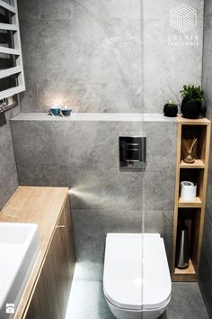 Wood and ciment bathroom