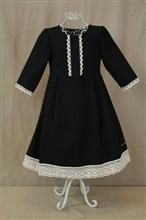 4612bc128c932 Dress in black cool wool and light beige chrochet lace from Callington  babyclothes. www.