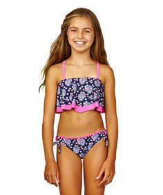 Look at this Wavy Navy & Hot Pink Be Free Bikini - Girls on #zulily today!