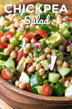 Chickpea Salad combines all of my favorite fresh vegetables in one delicious bite. Chickpeas are combined with juicy tomatoes, refreshing cucumbers and creamy avocados all tossed in an easy homemade lemon kissed dressing. #spendwithpennies #chickpea #chickpeasalad #saladrecipe #makeaheadsalad #lunchrecipe #easyrecipe #easysidedish #potluck #bbq