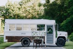 School Bus Boutique Gets a Romantic Renovation Circa 1910 Mobile Jewelry Shop Marvin the Mini Bus Minibus, Bus Living, Mobile Boutique, Mobile Shop, School Bus Tiny House, School Bus Rv, School School, Bus Remodel, Converted School Bus