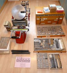 ADANA 8X5 LETTERPRESS PRINTING MACHINE PLUS CABINET TYPE AND LOTS OF EXTRAS
