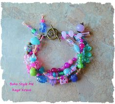 Boho Bracelet Colorful Kawaii Jewelry Pastel Charm by BohoStyleMe