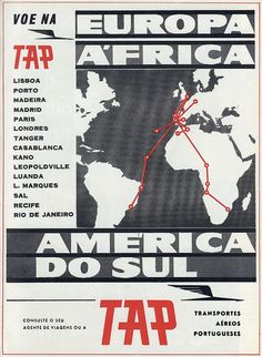 Anúncio da TAP aos vôos para Europa, África e América do Sul | Announcement of the TAP to Europe, Africa and South America   in: Eva, N.º 1068, Janeiro de 1961, pág. 59.