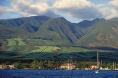 #Maui Places#Beautiful spaces!!!# Photo taken of Lahaina and the West Maui mountains back in the day when sugar cane grew on the slopes.  The Pioneer Inn is the white building w/red roof, and the schooner Carthiginian is docked at the Lahaina Harbor!  The Carthiginian was subsequently scuttled off of Puamana and is now enjoyed as a dive site in approximately 110 ft. of water.