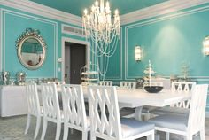 Looks like my dining room on a much smaller scale and minus light fixture & furniture :-)