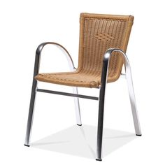 STRASBOURG Stacking Dining Arm Chair  AC1120B04RAT Width: 22 1/2″ Depth: 23 1/4″ Height: 31 1/8″  Seat Height: 17 3/4″  Wicker: 1024 Round Finish: Anodized