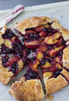 This peach blueberry galette is sweet and juicy with a tender, buttery crust and warm filling of baked peaches and blueberries.