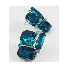 New teal blue glass RHINESTONE pierced post earrings gold tone prom jewelry found on Polyvore