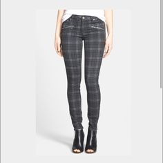 Paige Jeans Indigo Zip NWOT Adorable Paige Jeans in Charcoal Canterbury Plaid. Size 27. No imperfections! Paige Jeans Jeans Skinny