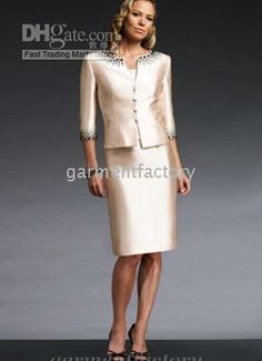 White and Gold Wedding. Mother of the Bride. Mother of the Groom. Dress or Suit With Jacket. Wholesale 2010 modern style 2-peice satin mother of the bride dress sheath knee length woman suit set, Free shipping, $89.6-112.0/Piece | DHgate