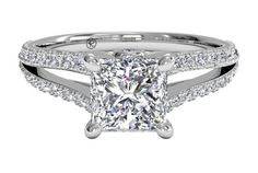 Double French-Set Diamond 'V' Engagement Ring with Surprise Diamonds - in 14kt White Gold (0.24 CTW)