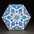 Rare Iznik hexagonal tile, Turkey, circa 1540-1545. Photo courtesy Amir Mohtashemi Ltd ASIAN ART IN LONDON.31st October -...