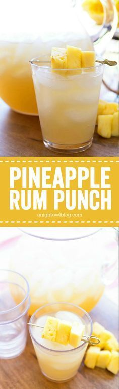 Punch Pineapple Rum Punch – The perfect mix of tropical flavors in one amazing and easy to make party drink!Pineapple Rum Punch – The perfect mix of tropical flavors in one amazing and easy to make party drink! Party Drinks, Cocktail Drinks, Fun Drinks, Cocktail Recipes, Drink Recipes, Margarita Recipes, Rum Punch Recipes, Bourbon Drinks, Party Recipes