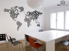 Vinilo decorativo Mapamundi tipográfico
