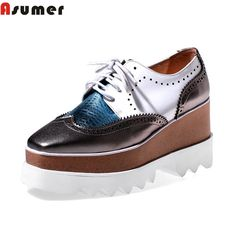 plus size new 2016 fashion lace up genuine leather women pumps wedges high heels square toe ladies platform casual shoes woman