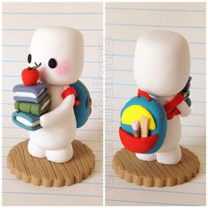 Back-to-School Marshfellow Polymer Clay People, Fimo Polymer Clay, Polymer Clay Figures, Polymer Clay Projects, Cute Crafts, Diy Crafts, Biscuit, Diy Inspiration, Play Clay
