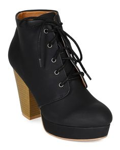 Qupid CK18 Women Leatherette Platform Lace Up Chunky Heel Bootie - Black >>> This is an Amazon Affiliate link. Details can be found by clicking on the image.