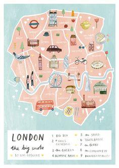 London Illustrated Map - British Art Print - City Map Poster Illustrated map of London by Livi Gosling (via Etsy). : London Illustrated Map - British Art Print - City Map Poster Illustrated map of London by Livi Gosling (via Etsy). London Map, London Travel, London Poster, Paris Map, London England Travel, London City Guide, London Kids, England Map, London 2016