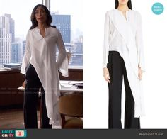 Jessica's long white asymmetrical blouse on Suits.  Outfit Details: https://wornontv.net/59588/ #Suits