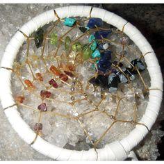 3 inch Rainbow Spiral Chakra Dreamcatcher by WeavingCrystal