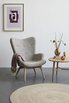 Hubsch Light Grey Danish Armchair and Stool Set Sofa Design, Lounge Chair Design, Furniture Design, Interior Design, Contemporary Living Room Furniture, Danish Furniture, Contemporary Chairs, Living Room Chairs, Home Living Room