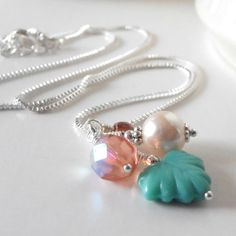 Beaded Cluster Necklace Aqua and Blush Pink Pearl and Czech Glass Pendant Necklace in Silver Bridesmaid Jewelry Sets Bridesmaid Gift