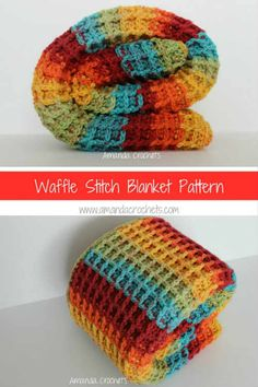 Crochet Patterns Afghans waffle stitch rainbow blanket-Caron Cake-Rainbow Sprinkles-crochet pattern - Today I'll be sharing with you my waffle stitch blanket pattern. This crochet pattern has a lot of texture to it and is a great beginner pattern. Crochet Crafts, Crochet Projects, Free Crochet, Crochet 101, Double Crochet, Beaded Crafts, Free Knitting, Diy Crafts, Crochet For Beginners Blanket