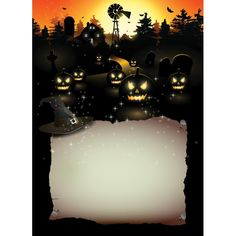 Vector Black Glowing Pumpkin With Invitation Card Paper Poster Template