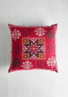 Abodes Well Pillow. We had an inkling your new apartment was going to be decorated delightfully, and your choice to put this Karma Living pillow at the center of the scene solidifies our musings. #red #modcloth