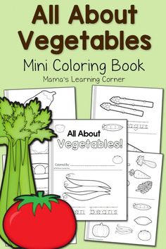 Vegetable Coloring Pages - makes a 23-page mini coloring book!