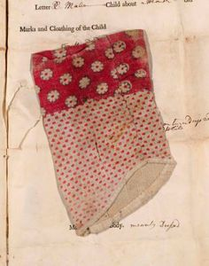 'Threads of Feeling; The London foundling Hospital's Textile tokens, 1740-1770' by John Styles; Tokens left by the mothers when leaving their child at the hospital.