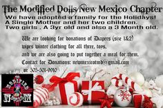 The Modified Dolls New Mexico Chapter are collecting #donations of toys, warm clothes, diapers and wet wipes for a family in need. Please contact your NM dolls if you can help. Thanks. #ModifiedDolls #NMdolls #Nonprofit #HelpingOthers #CollectingDonations #DoGoodFeelGood #holidays