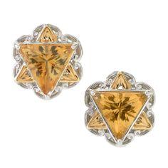 Michael Valitutti Palladium Silver Trillion Citrine Star of David Button Stud Earrings (Citrine), Yellow, Size Small